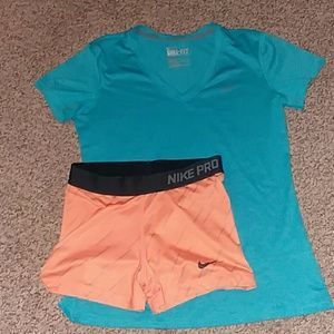 Nike pro shorts, dri-fit t-shirt
